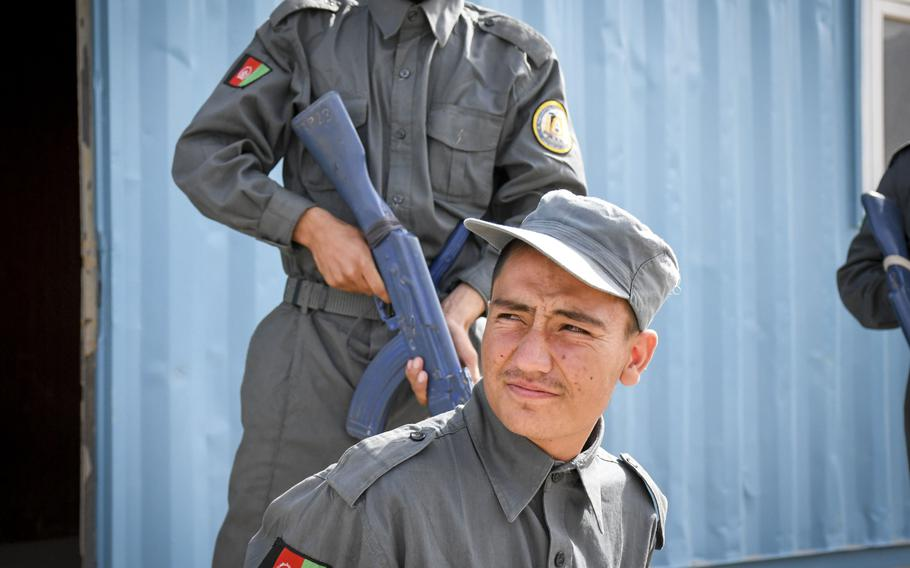 Afghan police in training practice detaining and arresting each other at the Regional Police Training Center in Herat, Oct. 28, 2018. Responsibility for training police primarily belongs to Afghan mentors, with allied troops now focusing on advising at higher echelons and with Afghan special operations.