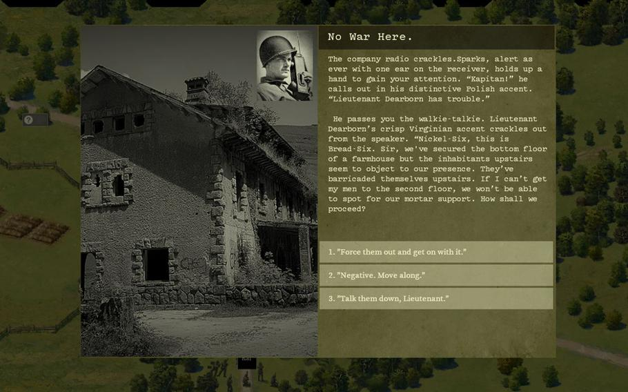 """A unit of American soldiers finds civilians that won't leave a farmhouse, leaving players with a choice that could impact the outcome of their battle in the video game """"Burden of Command,"""" which aims to simulate the uncertainty of leadership in battle.   Photo courtesy of Luke Hughes"""
