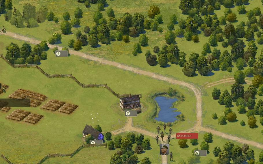 """A unit of German soldiers stumbles into the sights of American GIs, who fire on them in the video game """"Burden of Command,"""" which aims to simulate the uncertainty of leadership in battle. The game is currently in development.   Courtesy of Luke Hughes"""