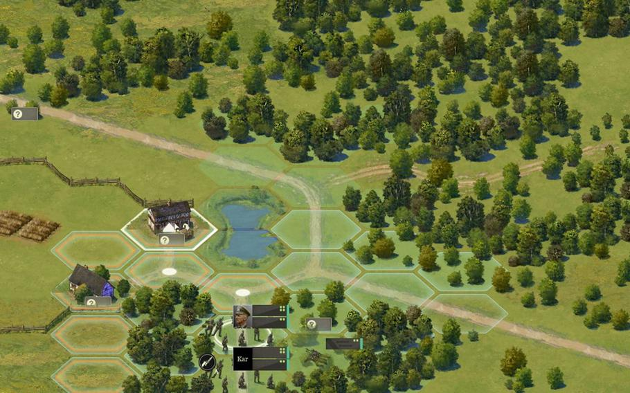 """A player selects a unit of German troops to move around the map in the video game """"Burden of Command,"""" which aims to simulate the uncertainty of leadership in battle. The game is currently in development."""
