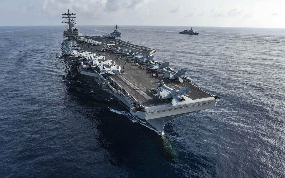 A Chinese military expert recently suggested testing American willpower in the South China Sea by sinking a pair of aircraft carriers, such as the USS Ronald Reagan, shown here Aug. 31, 2018.