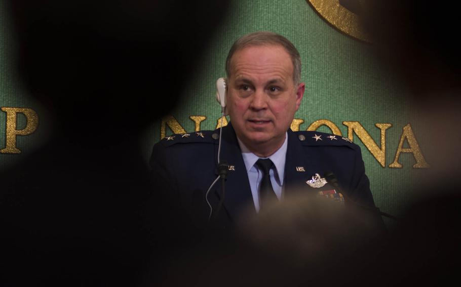 U.S. Forces Japan commander Lt. Gen Jerry Martinez speaks with reporters at the Japan National Press Club in Tokyo, Wednesday, Jan. 9, 2019.