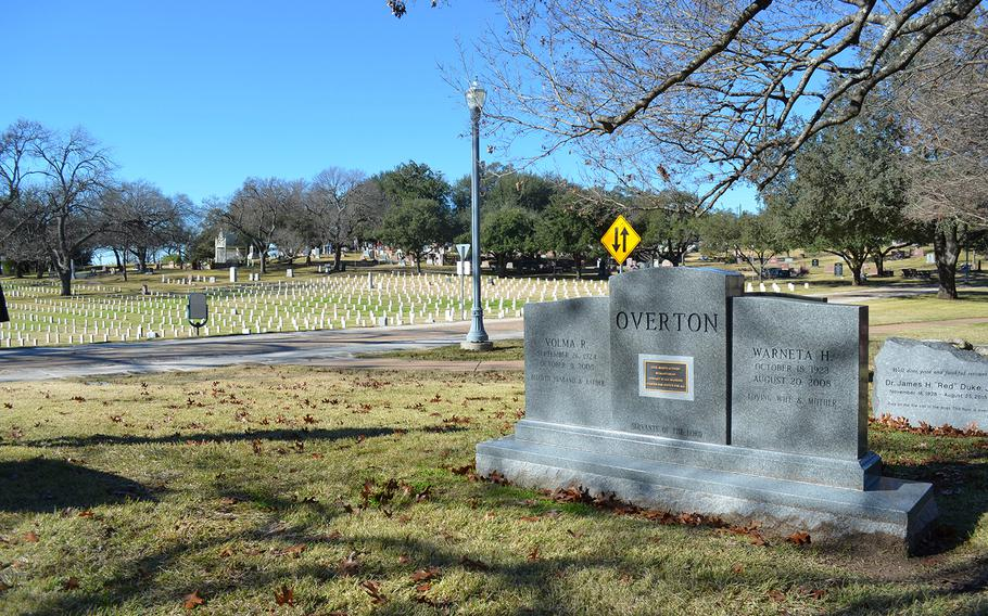 The future gravesite of Richard Overton, a World War II veteran and America's oldest man, is seen Jan. 4 at the Texas State Cemetery in Austin. Overton died Dec. 27 and will be buried next to his cousin, retired Army Lt. Col. Volma Overton Sr., a civil rights activist. Just behind their graves are those of about 1,800 Confederate War veterans.