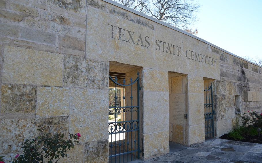 An entrance to the Texas State Cemetery in Austin is seen on Jan. 4, 2019.