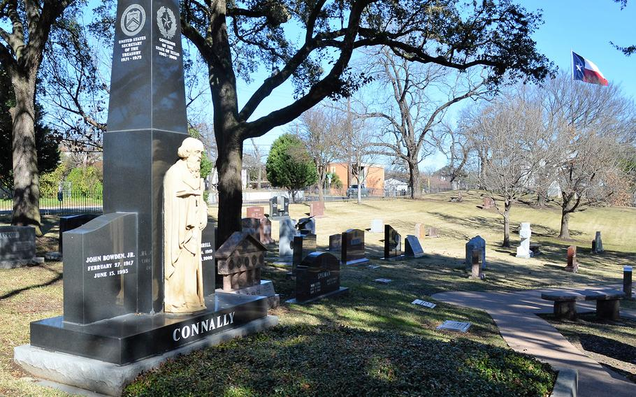 The gravesite of former Texas Gov. John Connally is seen Jan. 4 at the Texas State Cemetery in Austin. Connally, a World War II Navy veteran, also served as the secretary of the Navy and secretary of treasury. The English field stone marker is rumored to be more than 800 years old.