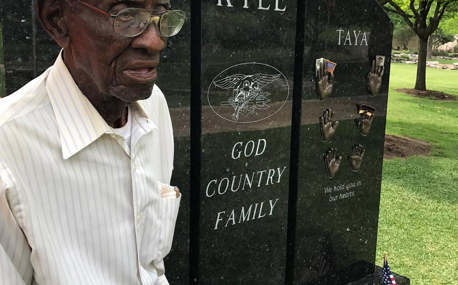 Richard Overton during a visit to the Texas State Cemetery.