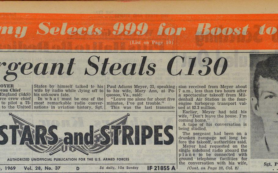 The odyssey of Sgt. Paul Meyer was on the front page of the May 24, 1969, Stars and Stripes.