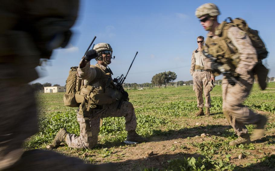 A U.S. Marine with Special Purpose Marine Air-Ground Task Force-Crisis Response-Africa leads a training exercise in Tifnit, Morocco, Dec. 1, 2018. The rotational force deployed to conduct crisis response and theater security operations in Europe and Africa.