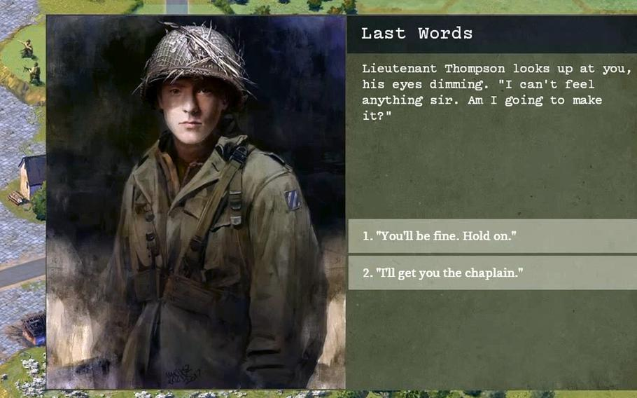 The upcoming video game ''Burden of Command,'' a World War II battlefield simulator, is designed to show players the complexity of leading people into battle.