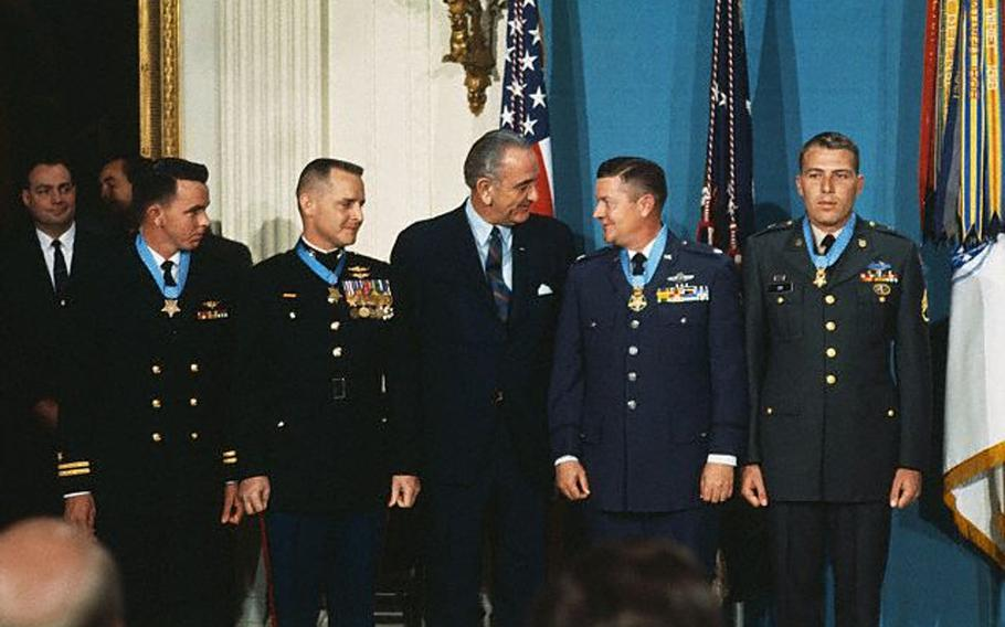 President Lyndon Johnson poses with four U.S. servicemen, to whom he presented the Medal of Honor Jan. 16, 1969, for heroism in Vietnam. From left to right: Navy Lt. Clyde E. Lassen, Ft. Myers, Fla.; Marine Maj. Stephen W. Pless, Newman, Ga.;  Air Force Lt. Col. Joe M. Jackson, Newman, Ga.; and Army Staff Sgt. Drew D. Dix, Pueblo, Colo. Jackson died over the weekend at the age of 95.