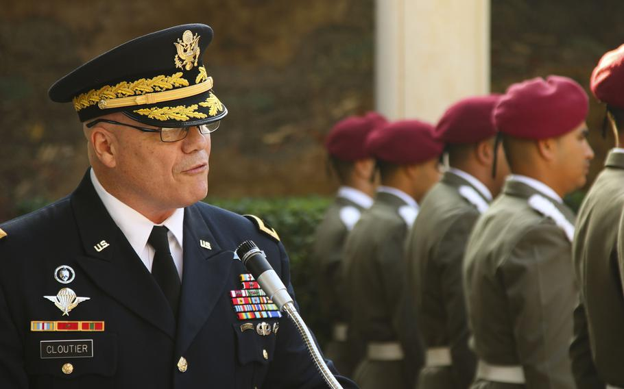 U.S. Army Africa commander Maj. Gen. Roger Cloutier speaks at a Veterans Day ceremony at the North Africa American Cemetery and Memorial, Carthage, Tunisia, Nov. 12, 2018. He visited with U.S. soldiers and Tunisians who were conducting training the following day.