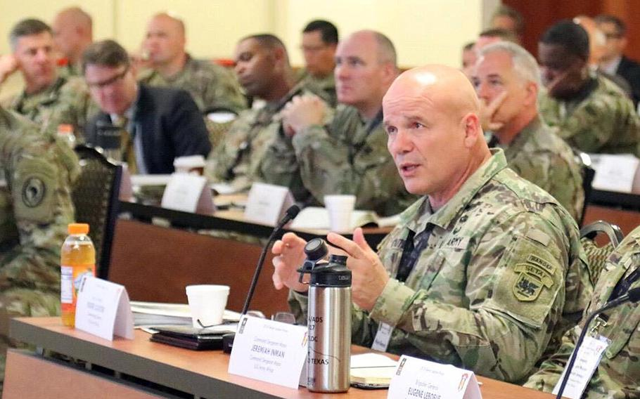 Maj. Gen. Roger Cloutier,  U.S. Army Africa commander, at the U.S. Army Africa Senior Leader Forum at Caserma Ederle, Vicenza, Italy, in October 2018.