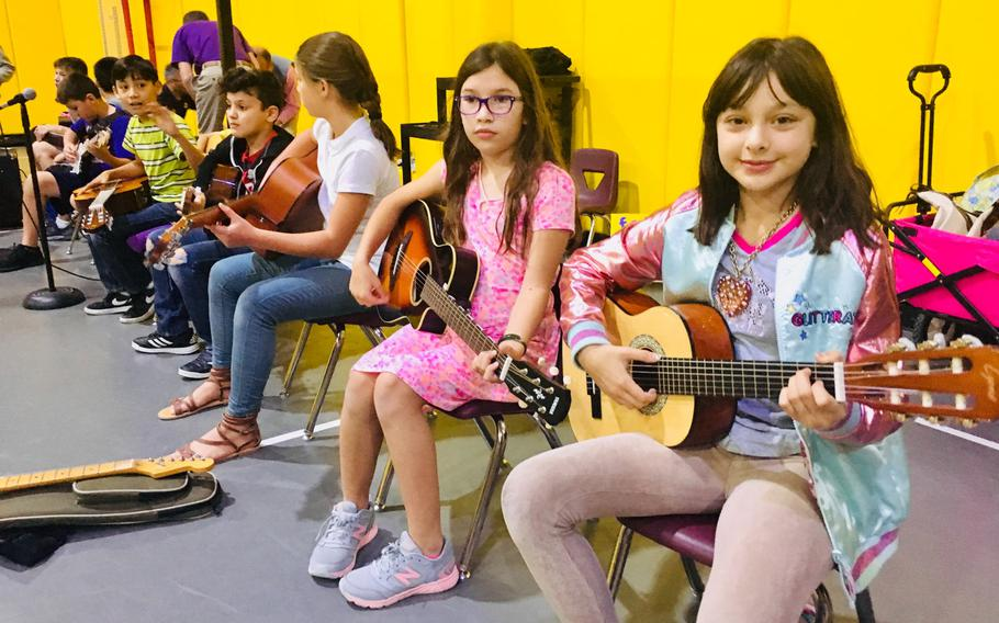 Student musicians participate in a pep rally event at Bahrain School on Jan. 17, 2019. The school is celebrating 50 years this week with events, alumni and basketball games.