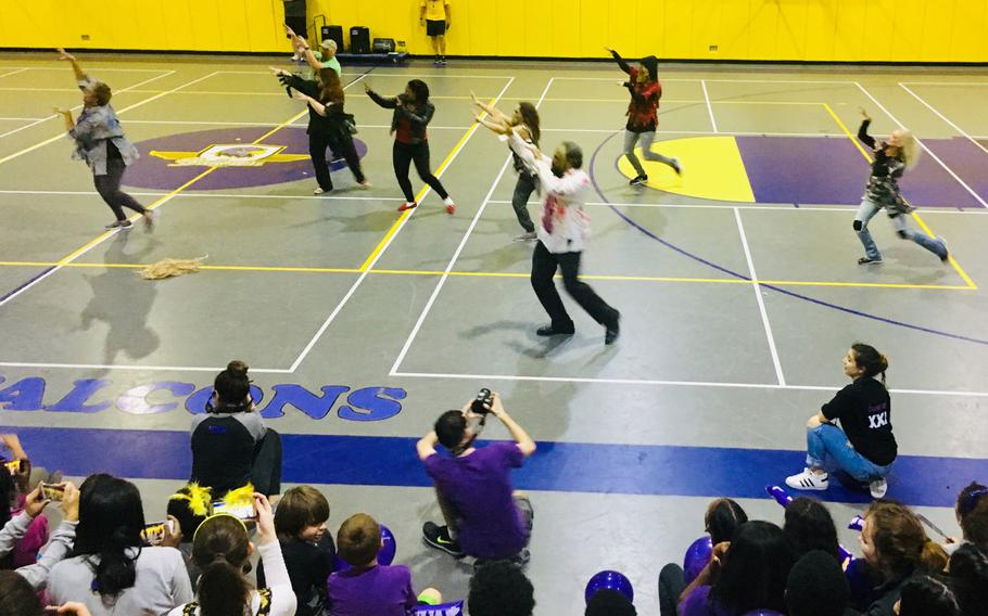 Faculty perform Michael Jackson's Thriller during a lip sync battle at Bahrain School on Jan. 17, 2019.