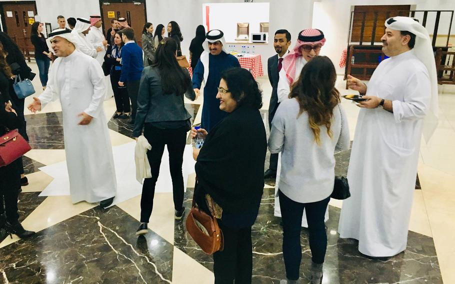 Former students attend an alumni event at Bahrain School on Jan. 17, 2019. The school is celebrating 50 years this week with events, alumni and basketball games.