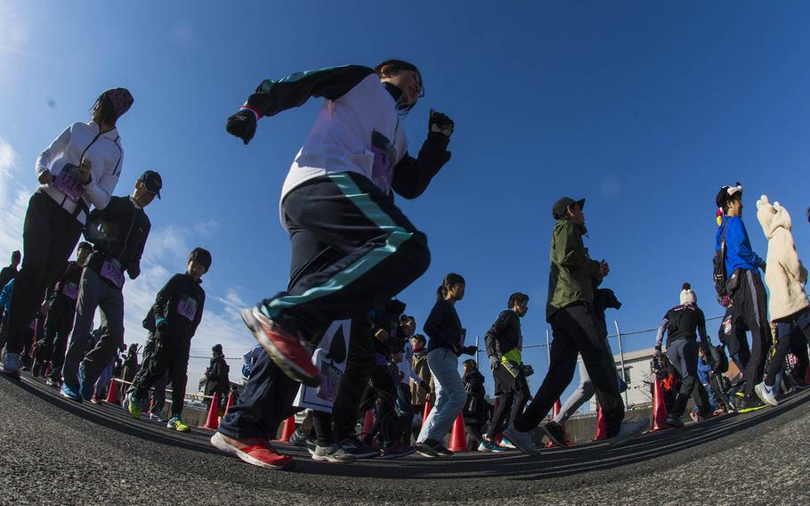 Nearly 12,000 runners competed in four events, including a half-marathon, during the 38th annual Yokota Striders Frostbite Road Race at Yokota Air Base, Japan, Sunday, Jan. 20, 2019.