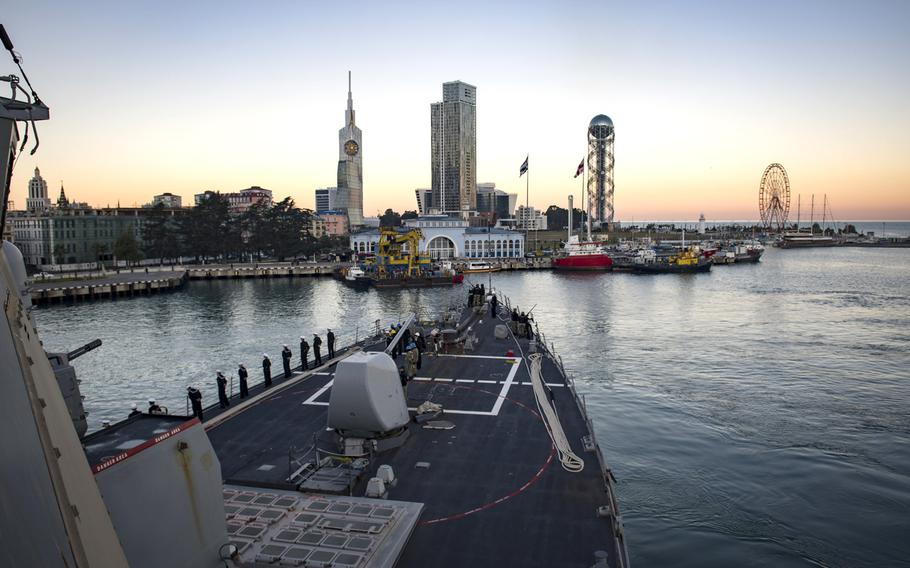 The destroyer USS Donald Cook arrives in Batumi, Georgia, Jan. 21, 2019. USS Donald Cook, forward-deployed to Rota, Spain, is on its eighth patrol in the 6th Fleet area of operations in support of U.S. national security interests in Europe and Africa.