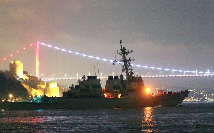 With Istanbul in the background, the USS Donald Cook heads for the Black Sea.