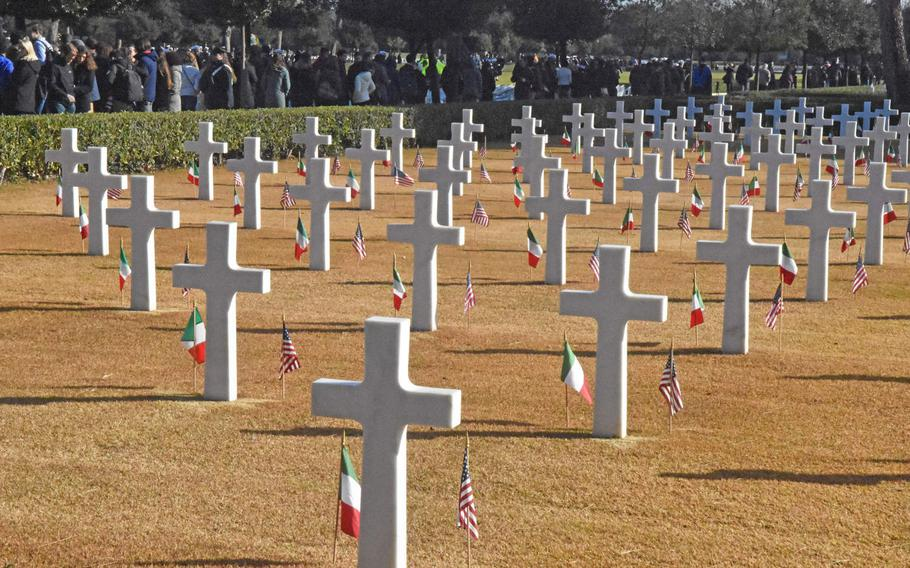U.S. and Italian flags were put on each of the headstones at the Sicily-Rome American Cemetery to commemorate the 75th anniversary of the Anzio and Nettuno landings in World War II.