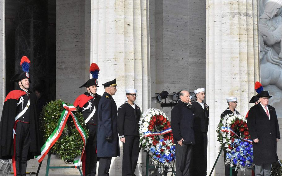 U.S. and Italian officials stand near wreaths on Jan. 22, 2019, at the Sicily-Rome American Cemetery to commemorate the 75th anniversary of the Allied landings at Anzio and Nettuno.