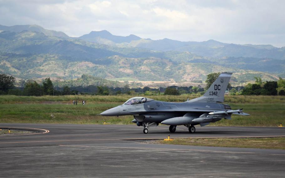 An Air Force F-16 Fighting Falcon from Kunsan Air Base, South Korea, taxis at Cesar Basa Air Base, Philippines, Jan. 18, 2019.
