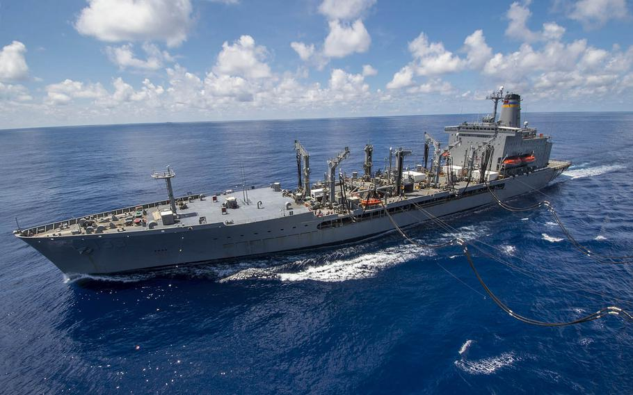 The USNS Walter S. Diehl conducts a replenishment at sea in 2016.