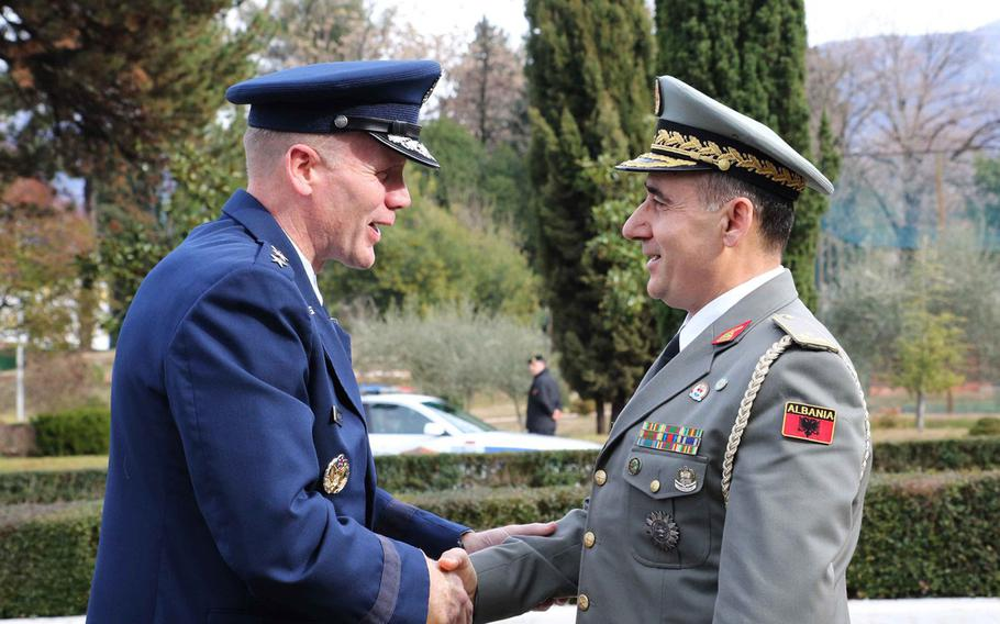 Commander Allied Air Command, Gen. Tod D. Wolters, left,  is greeted by the Albanian Chief of Defense Brig. Gen. Bardhyl Kollcaku, in Tirana, Albania, on Thursday, Jan. 24, 2019. Wolters and Albanian defense officials were at a ceremony to mark the first phase of NATO-funded construction projects to improve Albania's Kucova Air Base.