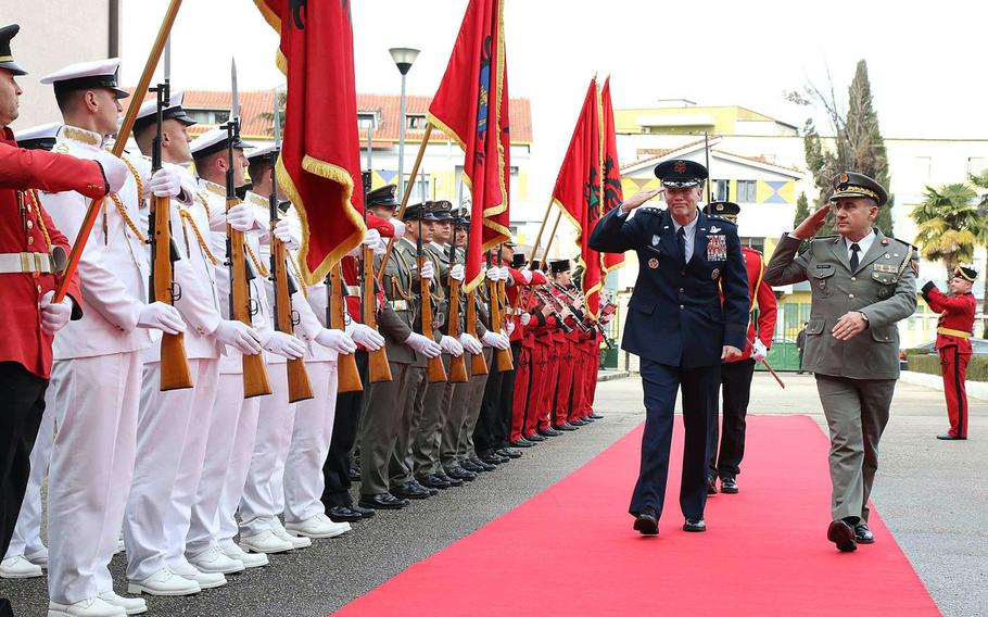 Commander Allied Air Command, Gen. Tod D. Wolters, left, inspects the honor guard with the Albanian Chief of Defense, Brig. Gen. Bardhl Kollcaku, while visiting Tirana, Albania, on Thursday, Jan. 24, 2019. Wolters and Albanian defense officials were at a ceremony to mark the first phase of NATO-funded construction projects to improve Albania's Kucova Air Base.