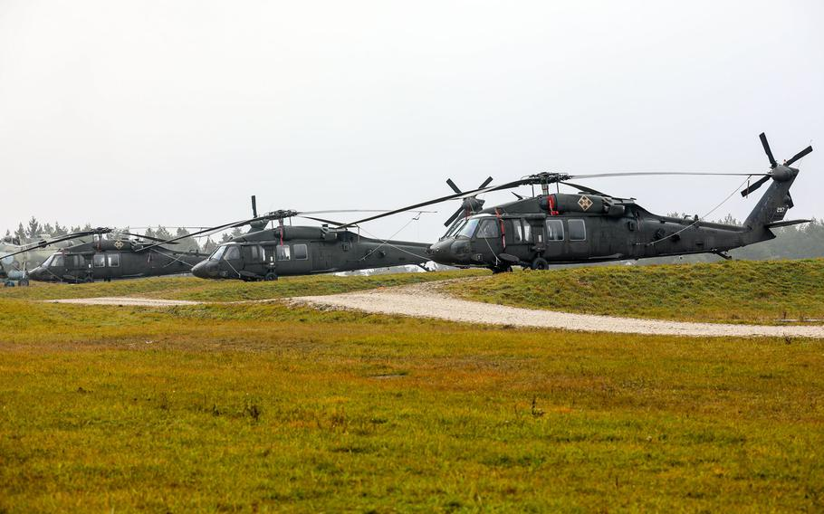 U.S. Army Black Hawk helicopters assigned to 4th Combat Aviation Brigade, 4th Infantry Division out of Ft. Carson, Colo., await their next mission in support of exercise Combined Resolve XI in Hohenfels, Germany, December 2018. The1st Combat Aviation Brigade, 1st Infantry Division from Fort Riley, Kan., will replace the 4th CAB.
