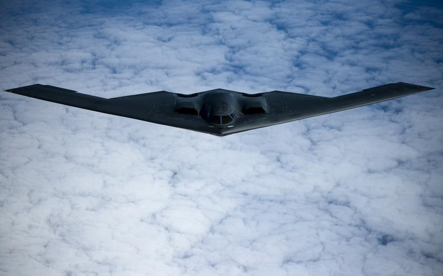 A B-2 Spirit bomber deployed from Whiteman Air Force Base, Missouri, conducts aerial refueling near Joint Base Pearl Harbor-Hickam, Hawaii, during a training mission Jan. 15, 2019. Students from Knob Noster High School near the base designed a plastic cover for an important switch box inside the B-2 Spirit bomber. The cover now is used in all operational B-2s at Whiteman as well as the aircraft's simulators.