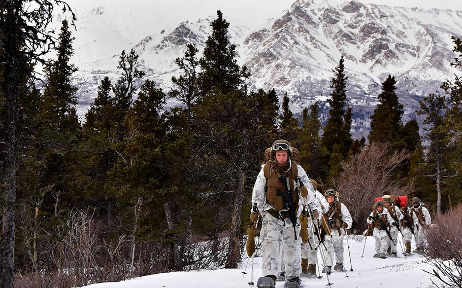 A group of Marines snowshoe along Hippie Trail on their way to the biathlon range Feb. 21, 2018, at the Northern Warfare Training Center's Black Rapids Training Site.