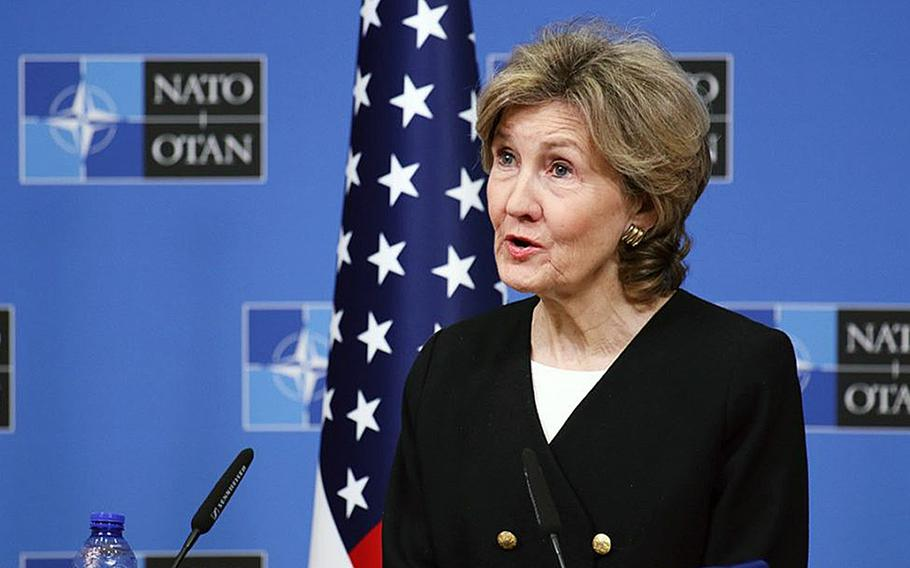 Ambassador Kay Bailey Hutchison, the U.S. permanent representative to NATO, during a news briefing in October 2018 in Brussels.
