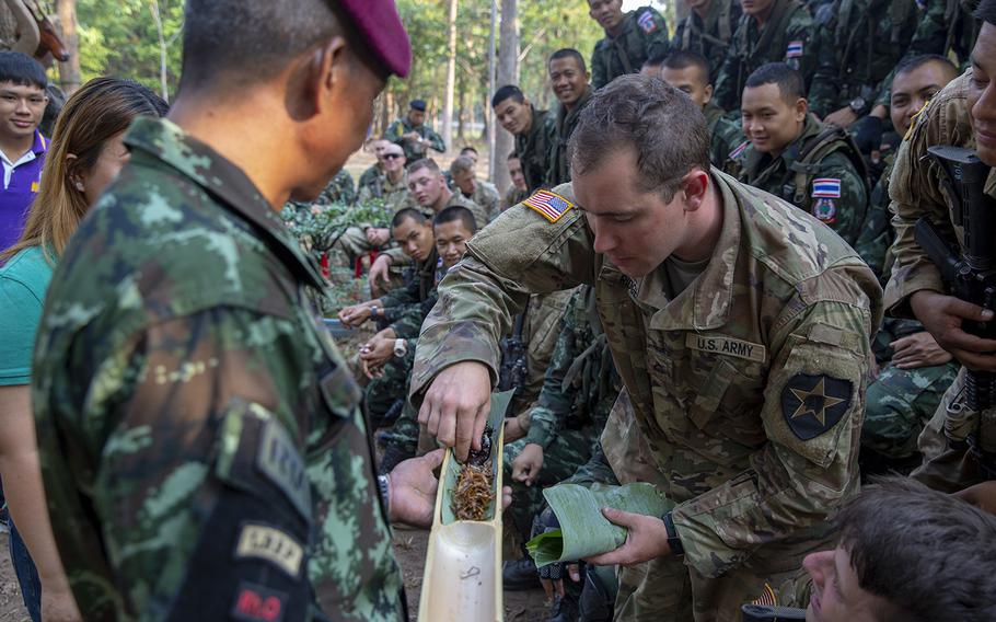 U.S. Army Pfc. Kyle Ridge, a combat medic with Bravo Company, 5th Battalion, 20th Infantry Regiment, samples insects during exercise Cobra Gold 19 at Phitsanulok, Thailand, on Feb 13., 2019.