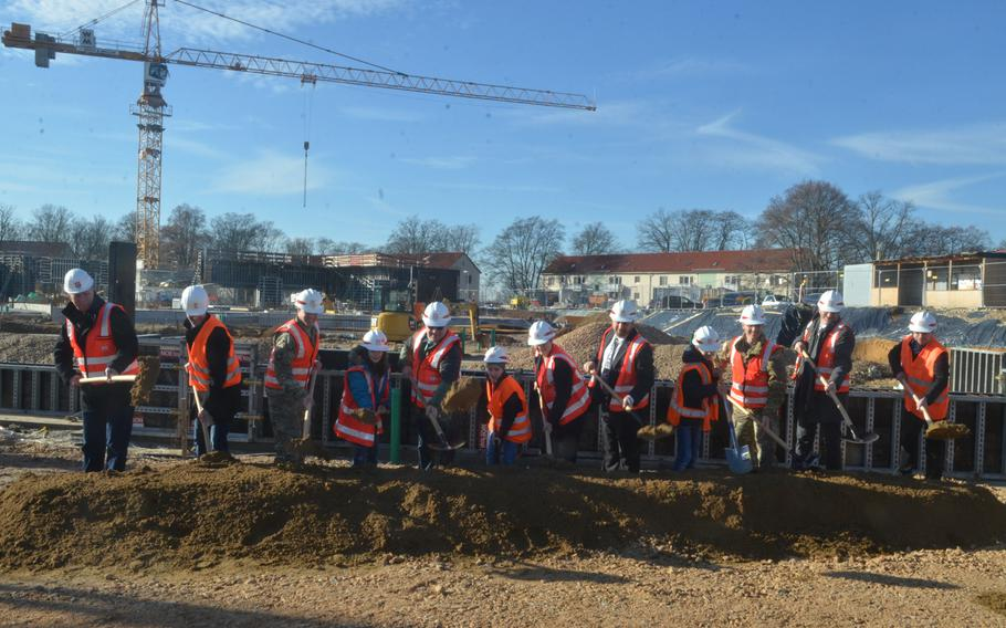Army staff, Wiesbaden Elementary students and staff and members of the construction team officially break ground on the new elementary school slated to be finished in 2021 in Wiesbaden, Germany, on Thursday, Feb. 14, 2019.
