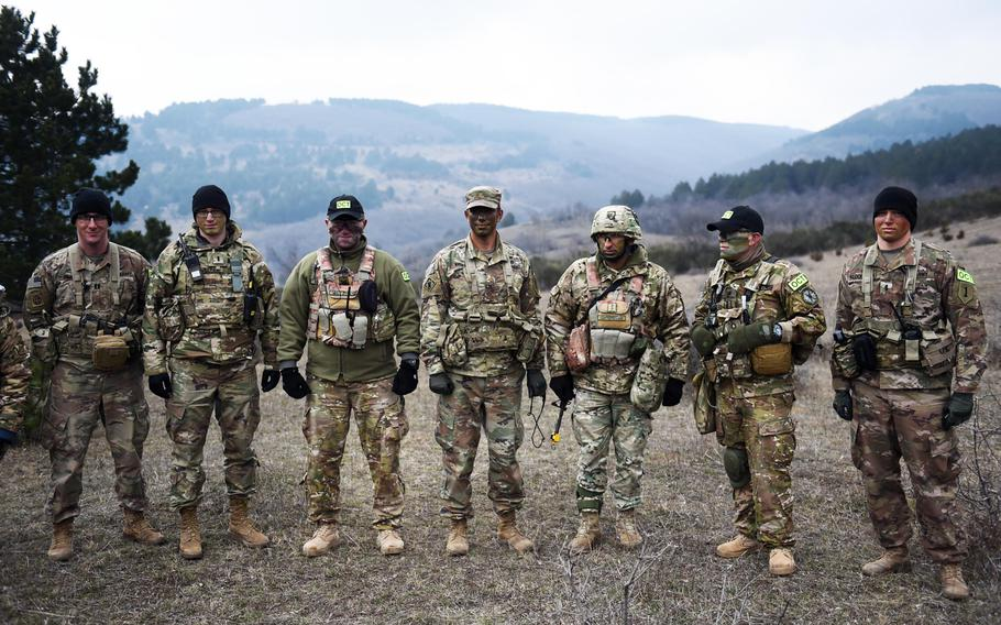 U.S. and Georgian soldiers stand together during the Georgia Defense Readiness Program, Wednesday, Feb. 20, 2019.