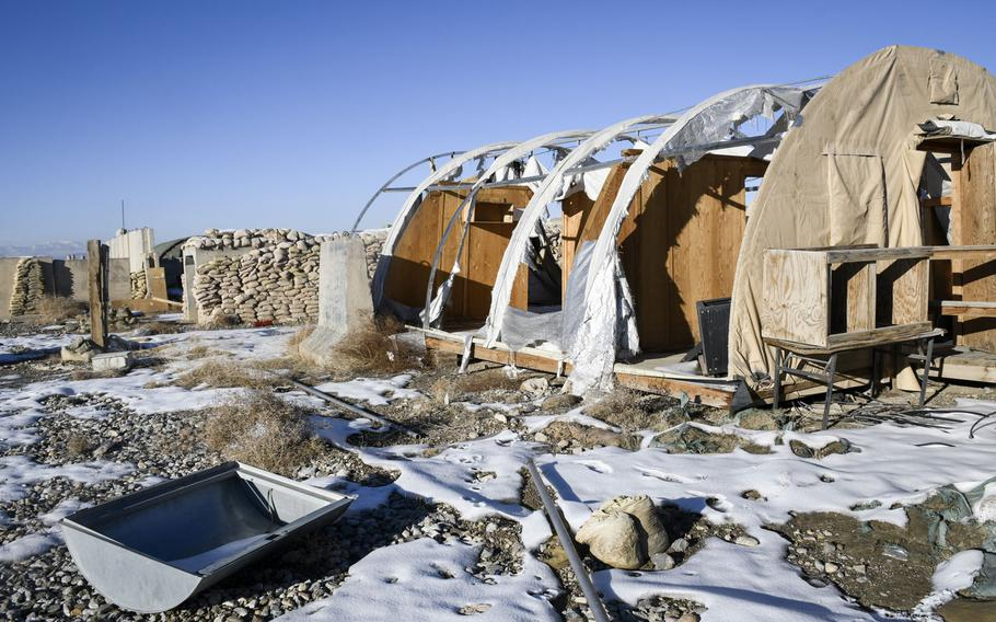 The remains of buildings at what was once Forward Operating Base Shank in Logar province now fall apart due to a lack of resources to maintain them.