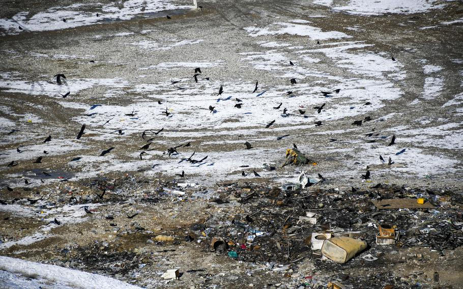 Crows swarm a garbage dump near the walls of what was once Forward Operating Base Shank in Logar province.