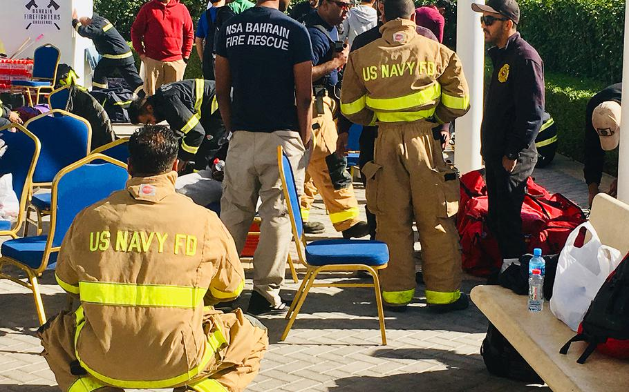 Naval Support Activity Bahrain Fire Department members prepare to compete in the Bahrain Firefighter Challenge on Saturday, March 2, 2019.