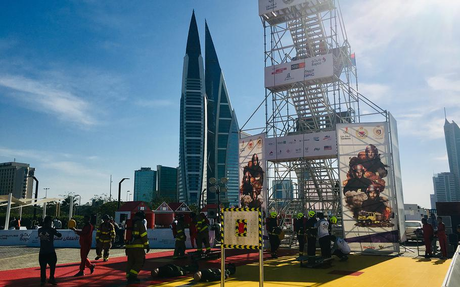 Naval Support Activity Bahrain Fire Department members compete in the Bahrain Firefighter Challenge on Saturday, March 2, 2019. The Bahrain winner will go on to compete during an international challenge in Dubai next year.