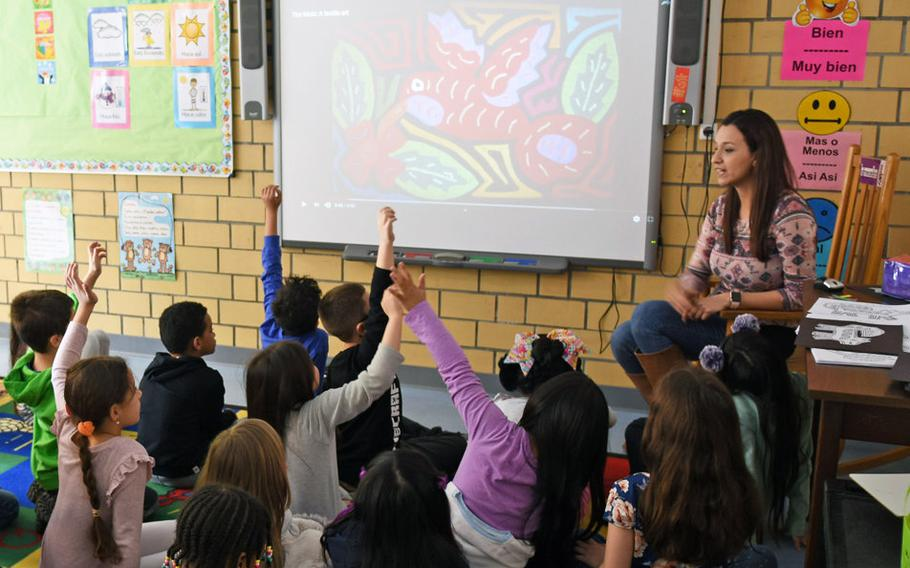 Second graders at Vogelweh Elementary School near Kaiserslautern, Germany, are eager to answer a question in teacher Samantha Sanchez's FLES class on Feb. 22, 2019.