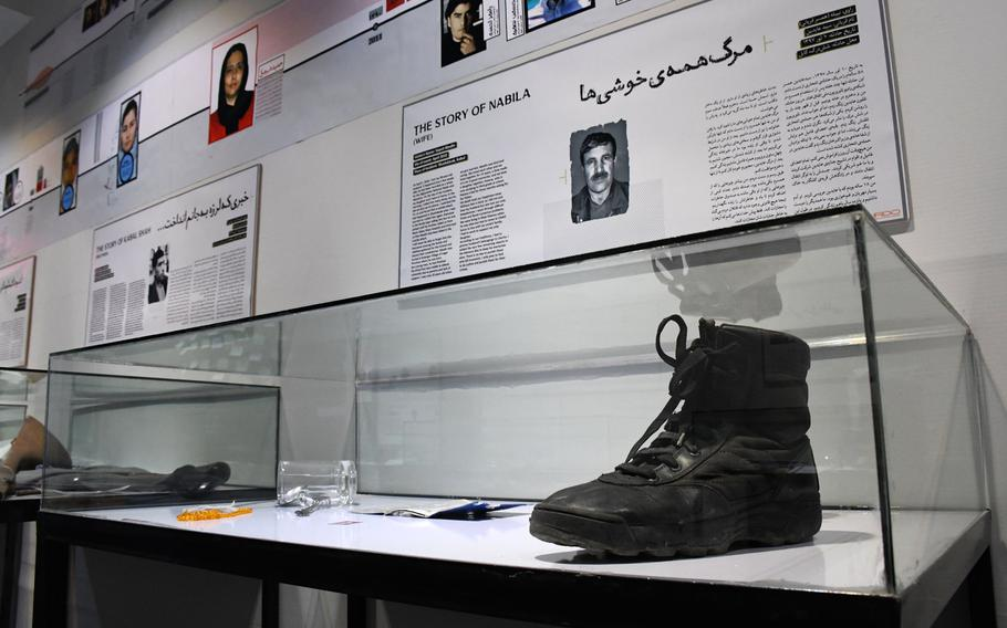 A memory box at the Center for Memory and Dialogue in Kabul on Feb. 20,2019, displays items that reflect the life of an Afghan killed by violence in the country.