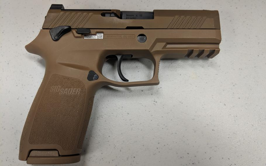 The 9mm M18 SIG Sauer Modular Handgun System set to replace the M9 Beretta used by all Air Force security forces units by 2020.