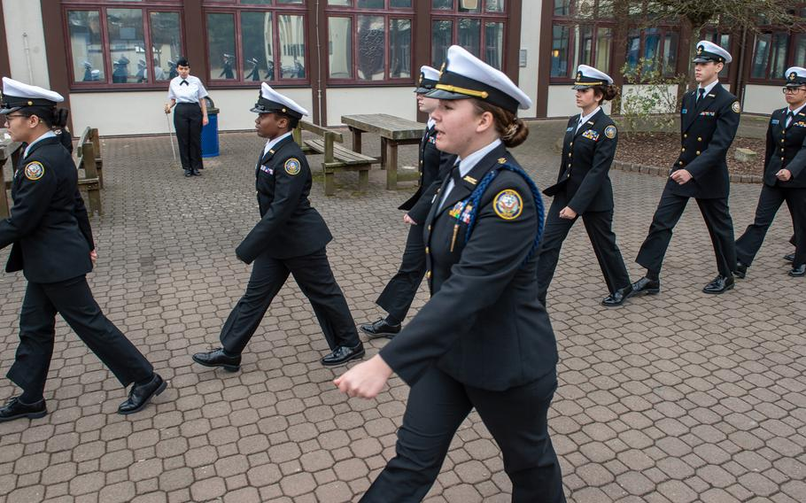 The Sigonella drill team heads to the next competition during the DODEA-Europe JROTC drill team championships at Ramstein, Germany, Saturday, March 2, 2019.