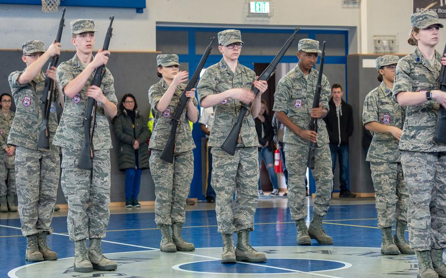 Lakenheath High School drill team participates in the armed exhibition drill competition during the DODEA-Europe JROTC drill team championships at Ramstein, Germany, Saturday, March 2, 2019. More than 100 cadets from 11 JROTC drill teams participated in the competition.