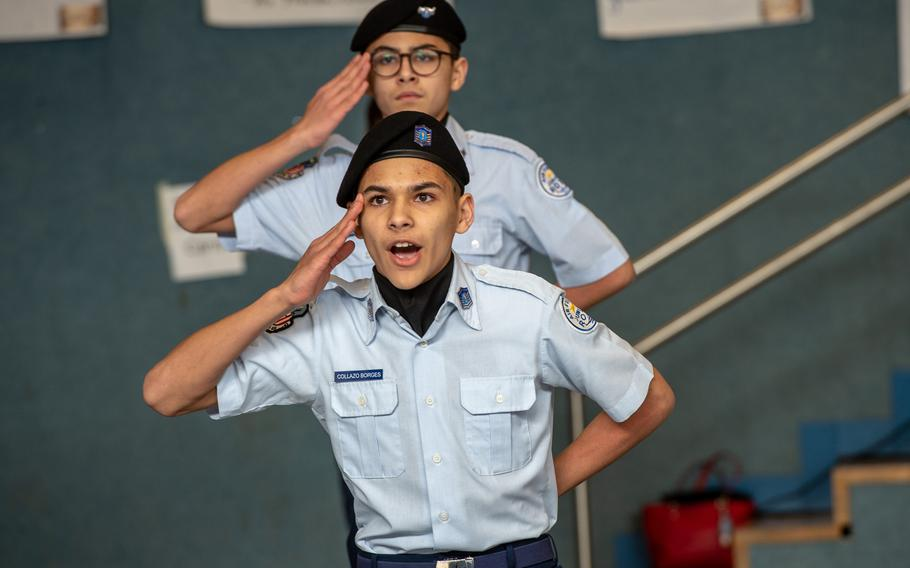 Twin brothers Edward and Andrew Collazo Borges from Ramstein High School compete in the dual-unarmed drill competition during the DODEA-Europe JROTC drill team championships at Ramstein, Germany, Saturday, March 2, 2019.
