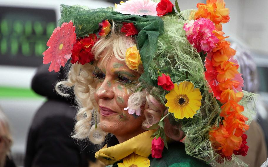 One of the colorful - and flowery - participants at the Ramstein Carnival parade on Tuesday.