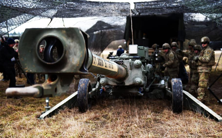 The business end of an M777 Howitzer is aimed by soldiers with the Army's 2nd Cavalry Regiment during Exercise Dynamic Front 2019, Wednesday, March 6, 2019.