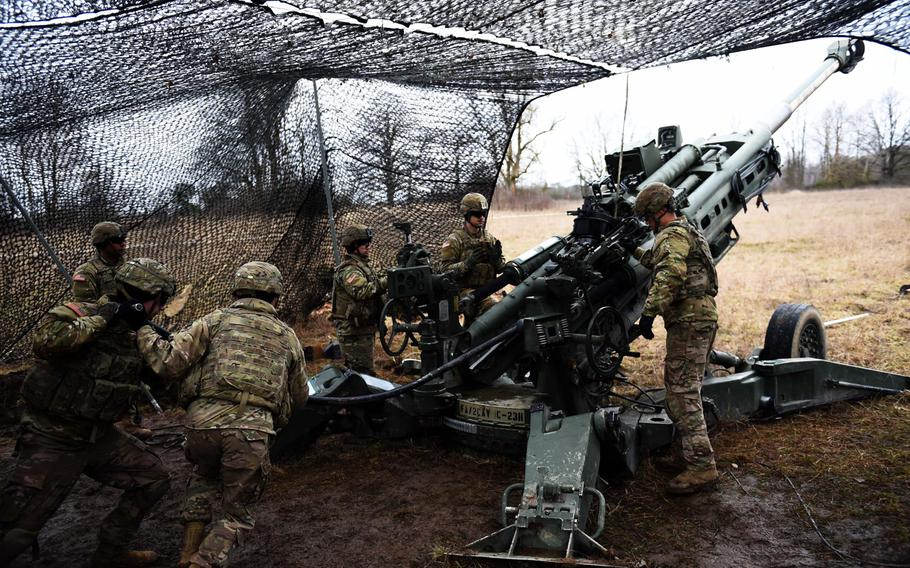 Soldiers with the Army's 2nd Cavalry Regiment demonstrate how to fire an M777 Howitzer during Exercise Dynamic Front 2019, Wednesday, March 6, 2019.