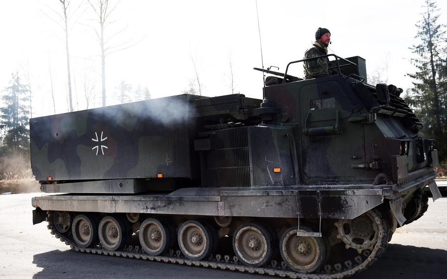 A German Army multiple launch rocket system vehicle moves into position during Exercise Dynamic Front 2019, Wednesday, March 6, 2019.