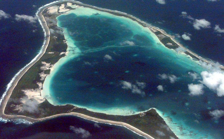 An aerial view of the island of Diego Garcia is pictured here in an undated photo.